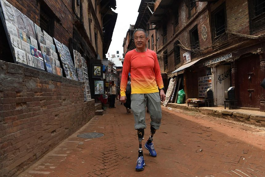 Double amputee climber Xia Boyu in Bhaktapur on the outskirts of Kathmandu on April 4, ahead of another bid to climb Everest.