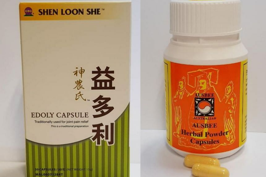 Shen Loon She Edoly Capsule (left) and Ausbee Australia Ausbee Herbal Powder Capsules contain potent medicinal ingredients that are prohibited.