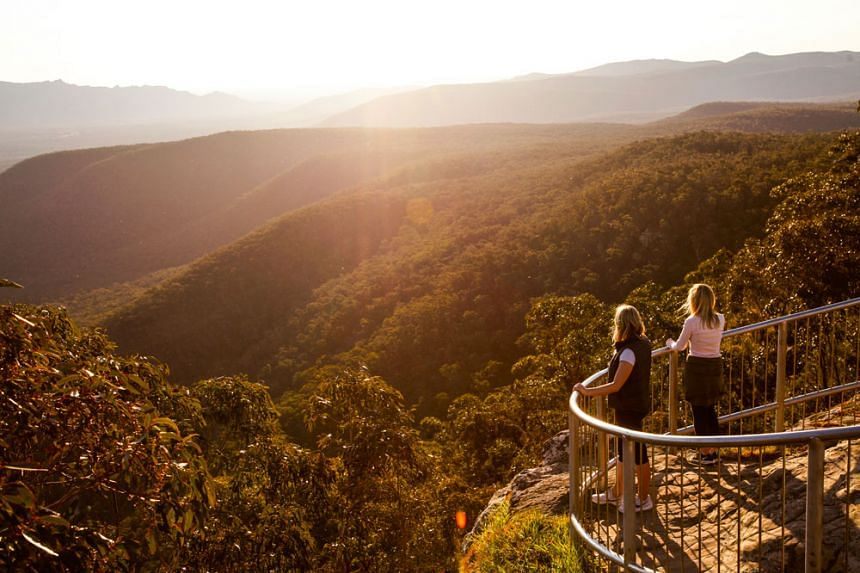 A bird's eye view of the Halls Gap Lakeside Park from the Balconies Walk. PHOTO: VISIT VICTORIA