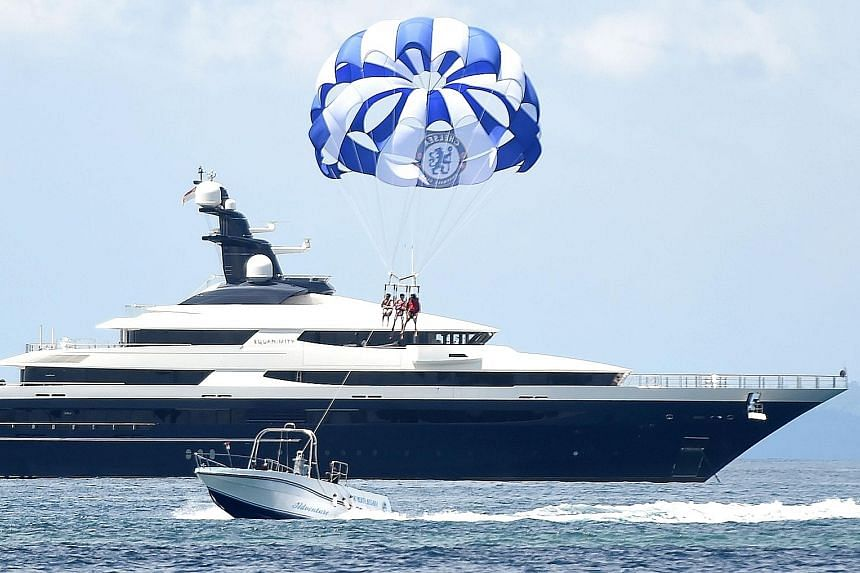 The Cayman Island-registered vessel Equanimity, which is reportedly worth US$250 million (S$334 million) and is owned by Malaysian financier Low Taek Jho, in waters off Tanjung Benoa in Bali on April 4. The yacht was seized by Indonesian authorities