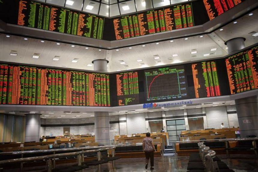 Stock market index display at RHB Center in Kuala Lumpur, Malaysia on May 14, 2018.