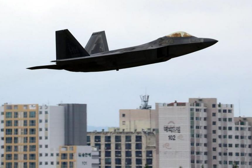 A US F-22 Raptor fighter jet takes off from an air base in Gwangju, 329 kilometers south of Seoul, South Korea, on May 2, 2018.
