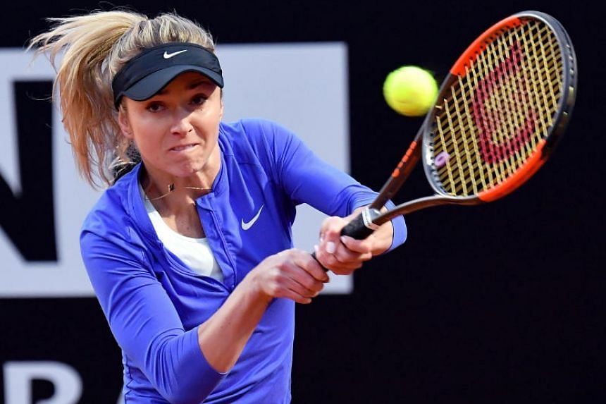Elina Svitolina of Ukraine in action during her women's singles second round match against Petra Martic of Croatia at the Italian Open tennis tournament in Rome, Italy, on May 15, 2018.