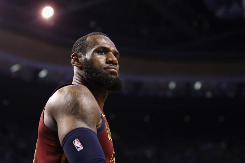 LeBron James of the Cleveland Cavaliers reacts in the second half of their game against the Boston Celtics, on May 15, 2018 in Boston.