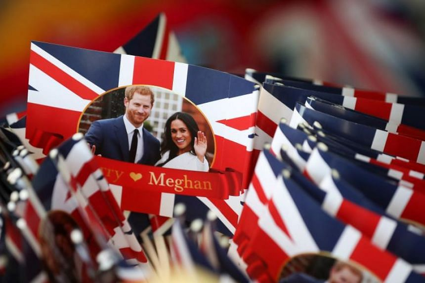Memorabilia celebrating the forthcoming wedding between Britain's Prince Harry and his US fiancee Meghan Markle are pictured for sale in a gift shop in Windsor, London.
