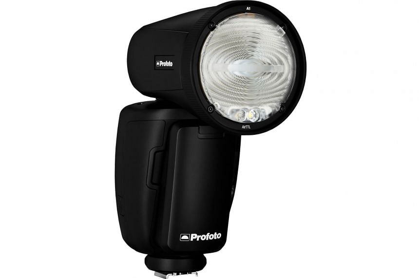 The Profoto A1 can be mounted on DSLR cameras and does not require a power outlet like regular studio strobes.