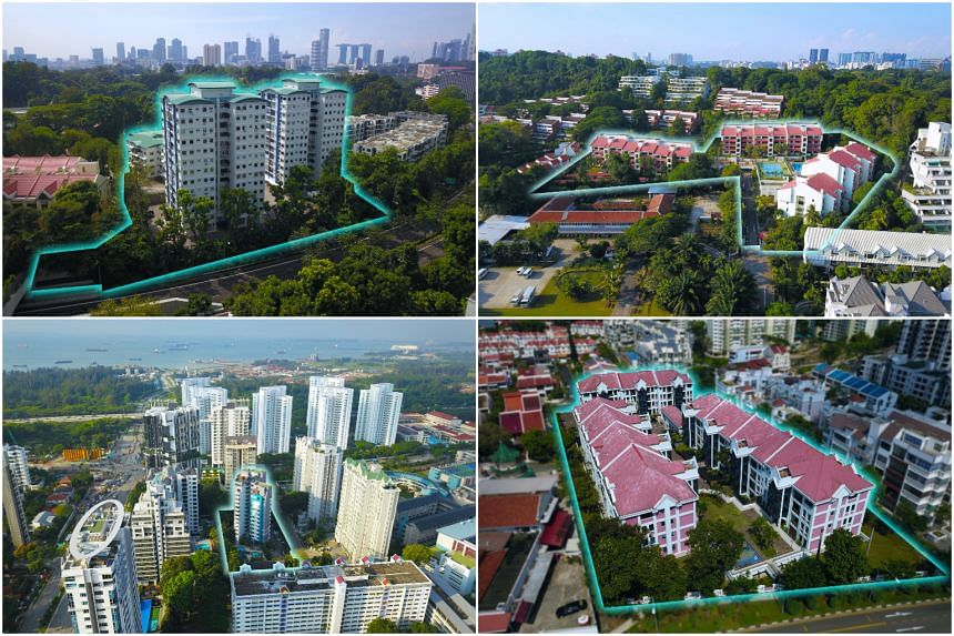 (Clockwise from top left) Cavenagh Gardens off Orchard Road, Flynn Park in Pasir Panjang, Rosalia Park near Serangoon Central, and La Ville at Tanjong Rhu Road.