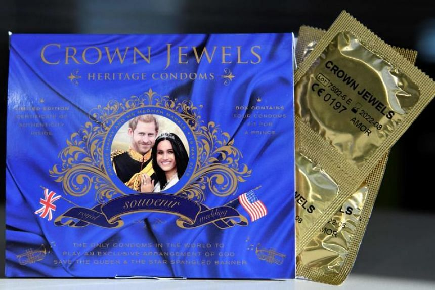 """Crown Jewels of London is selling """"royal wedding souvenir condoms"""", presented in a box playing """"an exclusive musical arrangement of 'God Save the Queen' and 'The Star Spangled Banner'""""."""