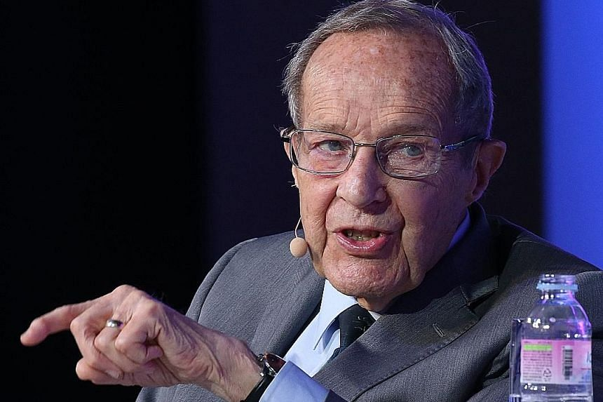 Former United States secretary of defence William Perry speaking at the Asian Leadership Conference 2018.