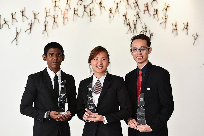 (From left) Mr Puvanaswaran Manikam was given the Lee Kuan Yew Model Student Award, Ms Amanda Neo Yan Lin was recognised for her achievement in sports and leadership, and Mr Aiden Chan Sung Yi received the Lee Kuan Yew Technology Award for developing