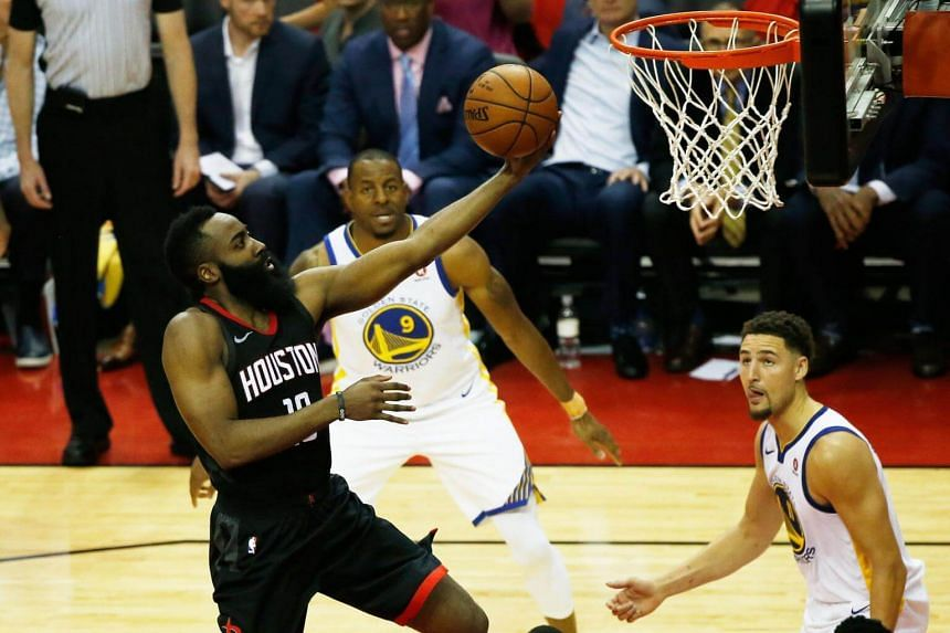 Houston's Most Valuable Player candidate James Harden in action against the Golden State Warriors on May 16, 2018.
