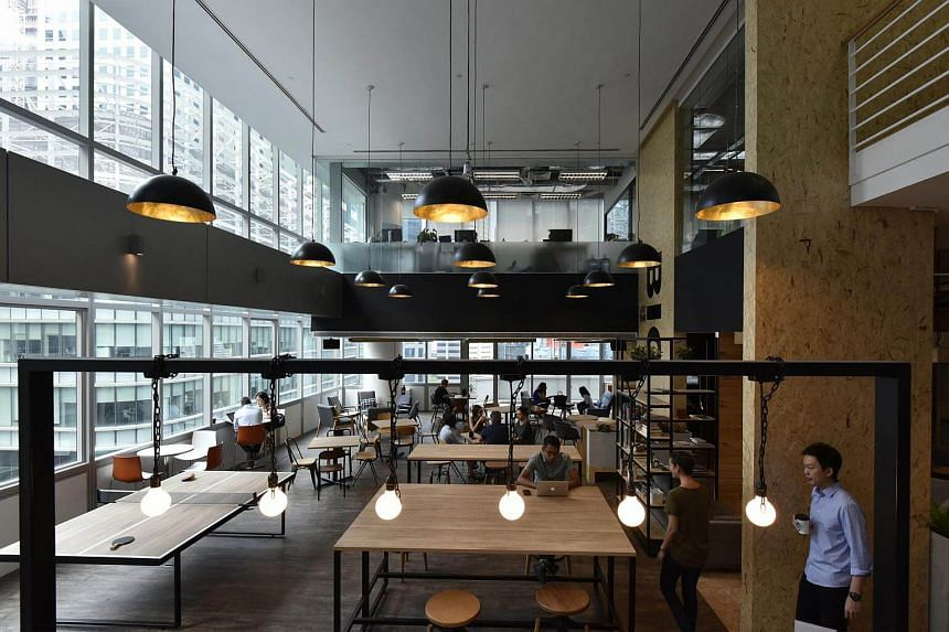 Interior of JustCo, a co-working space at 120 Robinson Road.