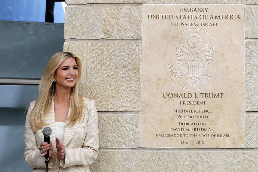 White House senior adviser Ivanka Trump speaks during the opening ceremony at the US consulate that will act as the new US embassy in Arnona, Jerusalem, on May 14, 2018.