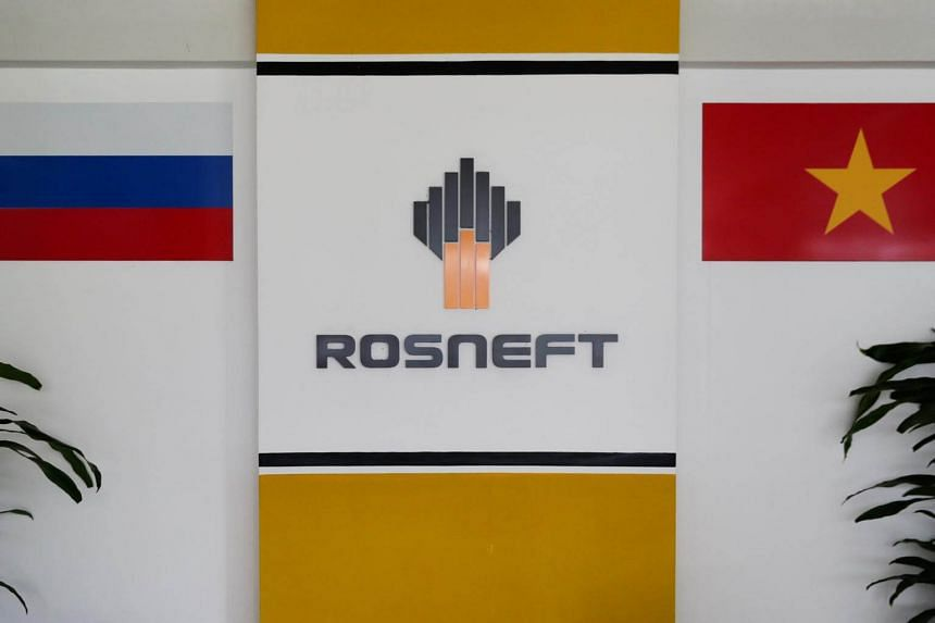 The logo of Russia's oil company Rosneft pictured in its Vietnam office in Ho Chi Minh City on April 26, 2018.