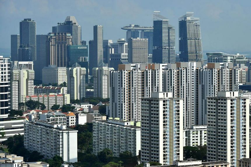 HDB flats and the skyline of Singapore's central business district seen in a photo taken from Novena on March 29, 2018.