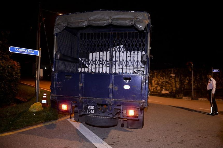 A truck was seen in former prime minister Najib Razak's house in Kuala Lumpur at around 10.15pm.