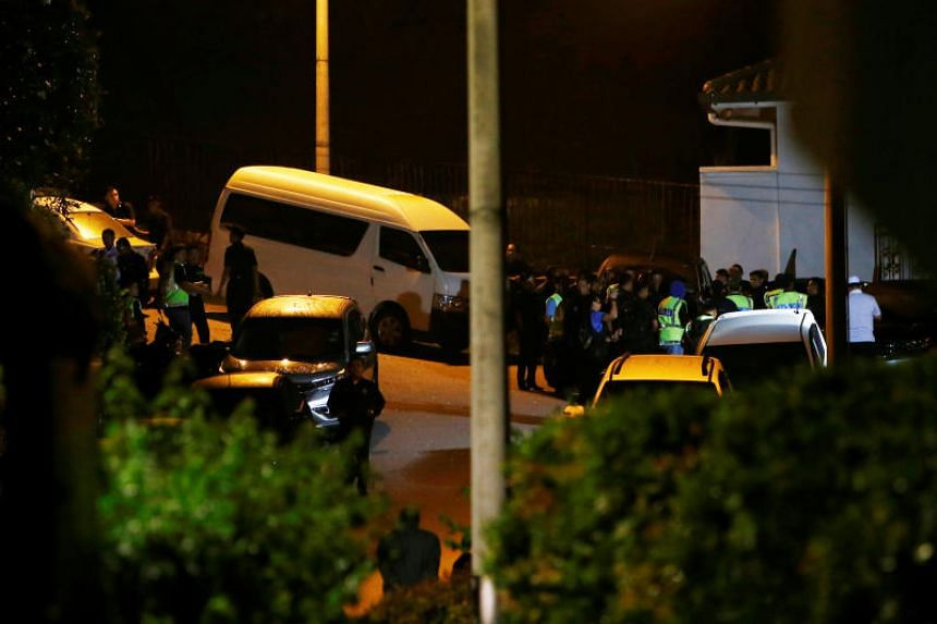 Police cars and a truck were seen in former prime minister Najib Razak's house in Kuala Lumpur at around 10.15pm.