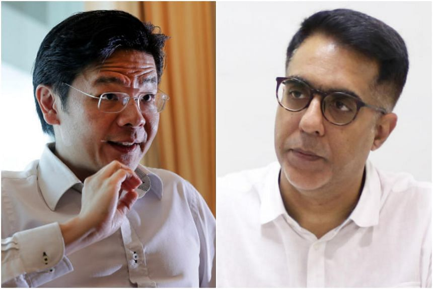 """National Development Minister Lawrence Wong (left) said Workers' Party chief Pritam Singh """"forgot to mention"""" that the current Government's fiscal commitments and spending are also at their highest."""