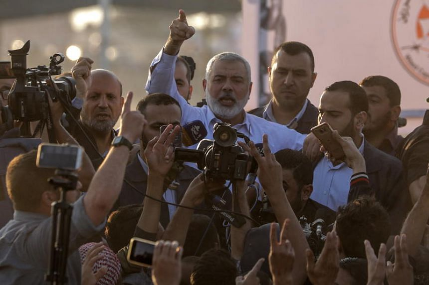 Hamas top leader Sheikh Ismaeil Haneiya speaks during his visit near the border with Israel in the east of Gaza Strip, on May 15, 2018.