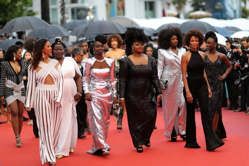 (From left) French actress and producer France Zobda, French actress Aissa Maiga, French actress Sabine Pakora, French actress Maimouna Gueye, French writer Rachel Khan and French actress Assa Sylla, part of a group of 16 black women who fight for eq