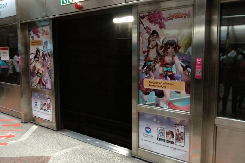The faulty platform screen door at Dhoby Ghaut MRT station.