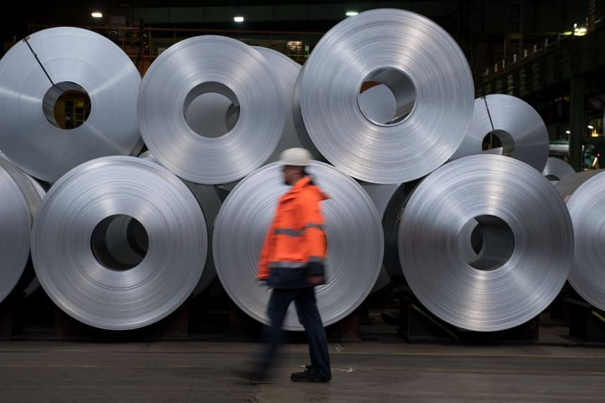Steel collies from manufacturer Salzgitter AG are seen at a facility on March 22, 2018.