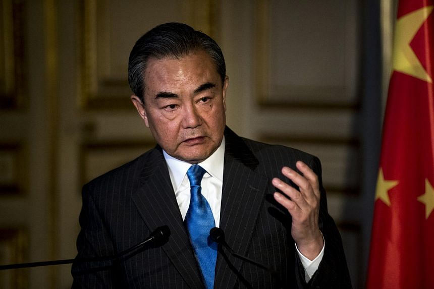 The Chinese government's top diplomat, Wang Yi, speaking in Paris where he is on an official visit on May 16, 2018.