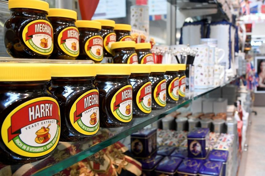 Even Marmite spread (above) gets a redesigned label bearing the couple's names for the forthcoming wedding.