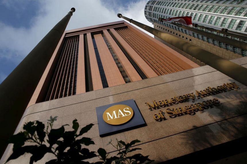 A view of the Monetary Authority of Singapore building along Shenton Way.