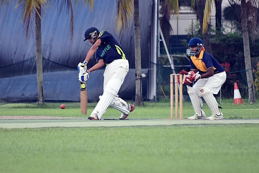 Raffles Institution (RI) captain Mustafa Anis Hussain driving fluently en route to his side's victory in the Schools National A Division cricket final yesterday. RI beat Anglo-Chinese School (Independent) by eight wickets at the Ceylon Sports Club. A