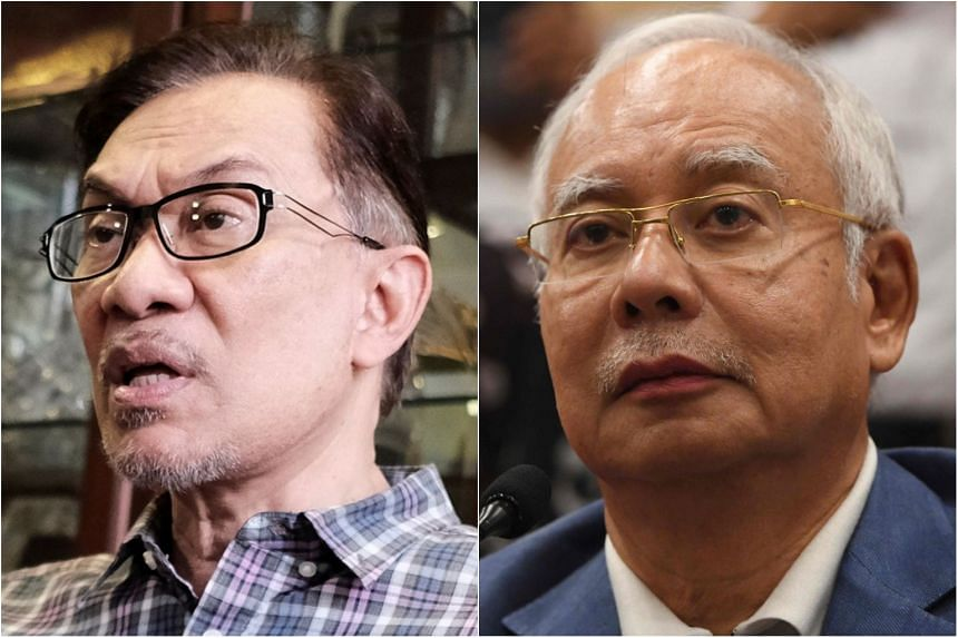Mr Anwar Ibrahim (left), who was pardoned and released from his five-year jail term for sodomy on May 16, said he had received two calls from ousted former premier Najib Razak on the night of the election.