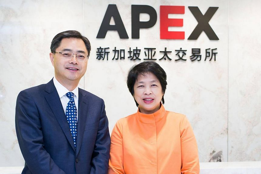 Asia Pacific Exchange Pte (Apex) chief executive Eugene Zhu (left) and Apex chairman Lim Hwee Hua.