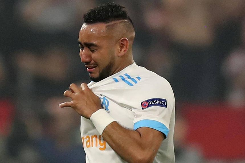 Marseille's Dimitri Payet leaves the pitch in tears as he is substituted off due to injury in the Groupama Stadium, Lyon, France on May 16, 2018.