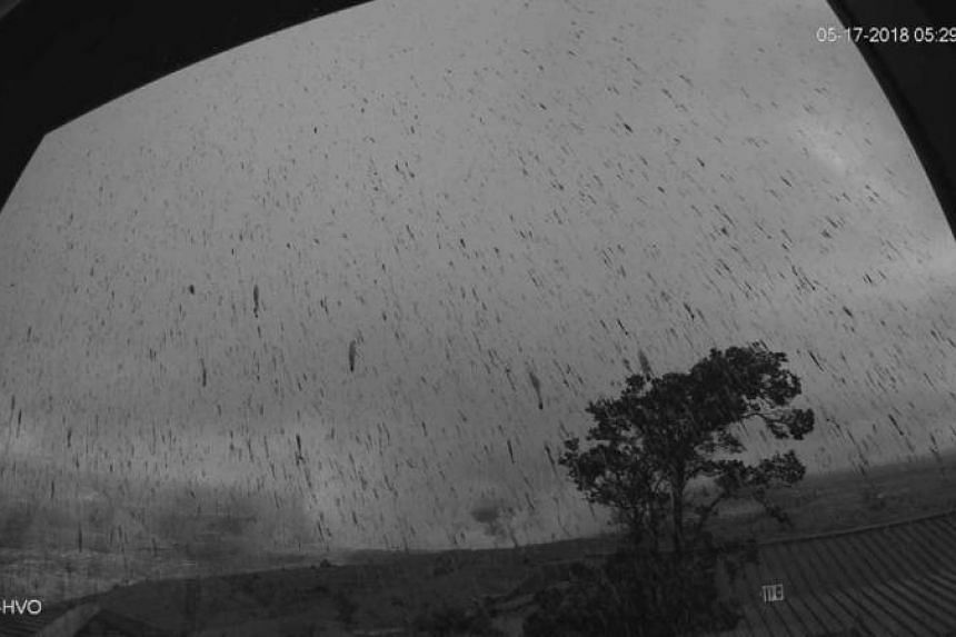 An image of falling ash from Hawaii's Kilauea volcano, as captured by the Hawaii Volcano Observatory's webcam on May 17, 2018.