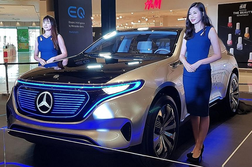 Mercedes-Benz showed off its Concept EQ electric car here on Thursday