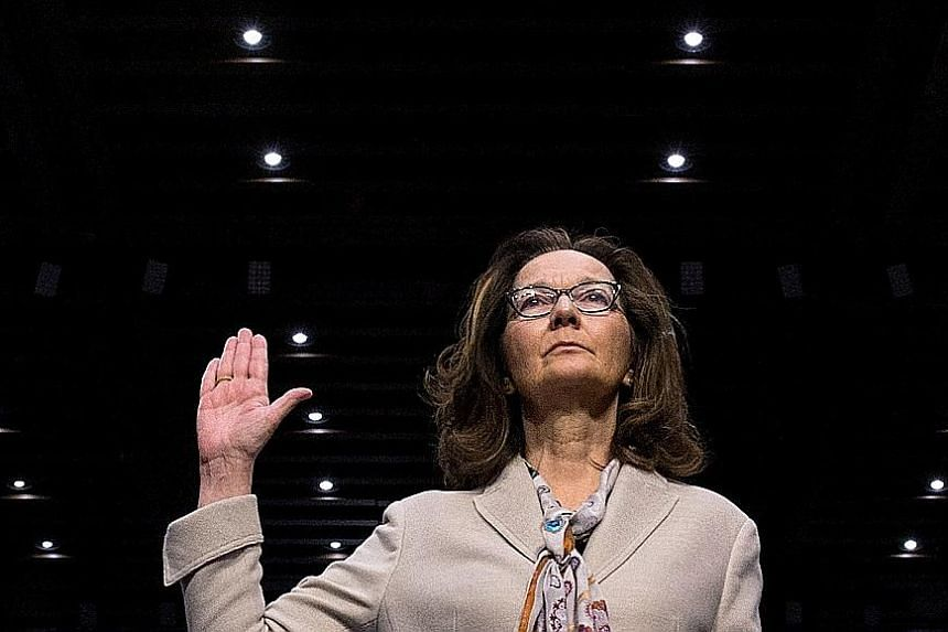 Ms Gina Haspel being sworn in to testify at her Senate Intelligence Committee confirmation hearing in Washington last week. Lawmakers approved her nomination following a CIA public relations drive to bolster her chances.