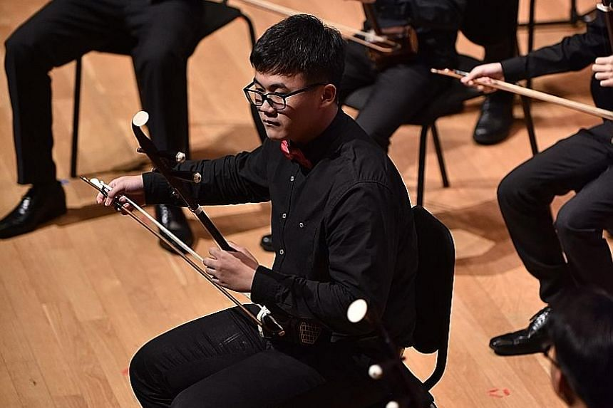 Victoria School student Lu Jietao said it was his school's Chinese Orchestra CCA group that allowed him to learn how to play the erhu. He is one of four Mapletree-TENG Academy scholarship holders who begin a two-year scholarship programme, valued at