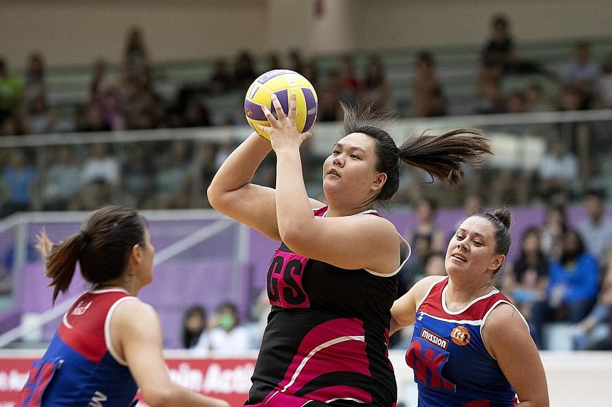 Goal shooter Lee Pei Shan in action at the recent Netball Super League. The 18-year-old is one of five new players called up to the national netball team.