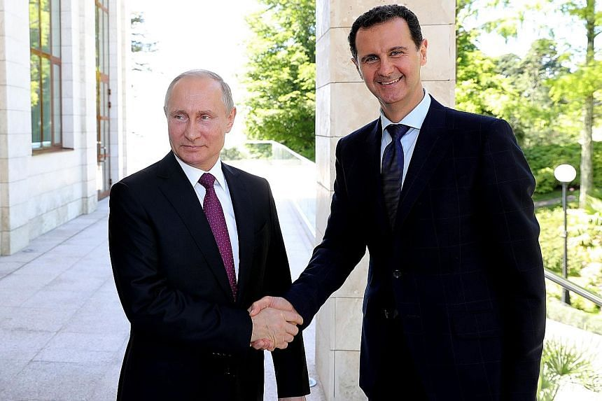 Russian President Vladimir Putin (left) meeting his Syrian counterpart Bashar al-Assad in the southern Russian city of Sochi on Thursday, after a UN envoy warned that the regime's assault on the rebel-held area of Idlib could affect 2.3 million peopl