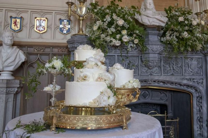 The wedding cake included elderflower syrup, made at the Queen's residence in Sandringham from the estate's own trees, with an Amalfi lemon curd filling and elderflower buttercream.