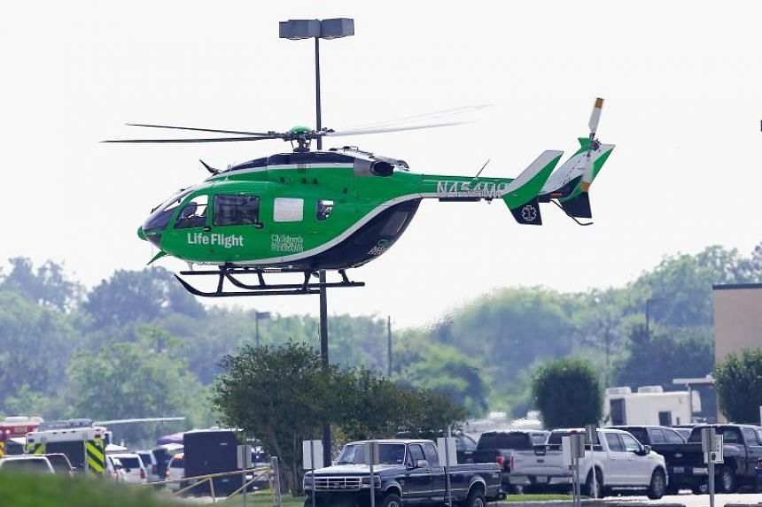 A Life Flight helicopter takes off from Santa Fe High School where a shooting took place on May 18, 2018 in Santa Fe, Texas.
