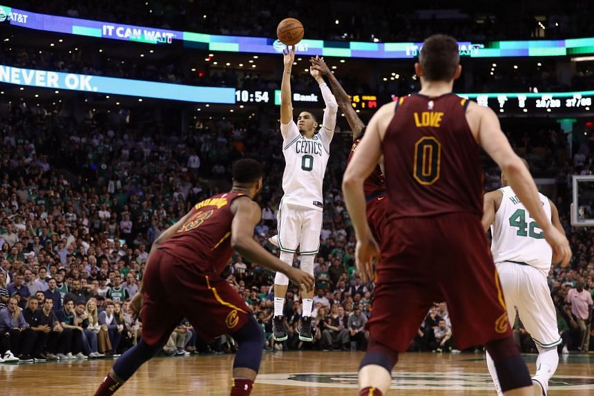 Jayson Tatum #0 of the Boston Celtics shoots the ball in the second half against the Cleveland Cavaliers during Game Two of the 2018 NBA Eastern Conference Finals, on May 15, 2018.