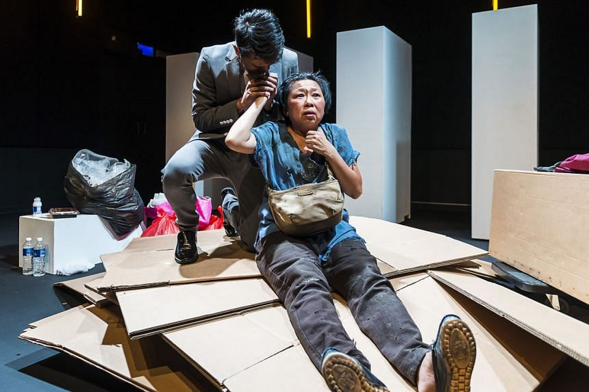 "Goh Guat Kian plays Xinyi, a woman in poverty who creates a cardboard ""bedroom"" for herself along an HDB corridor."