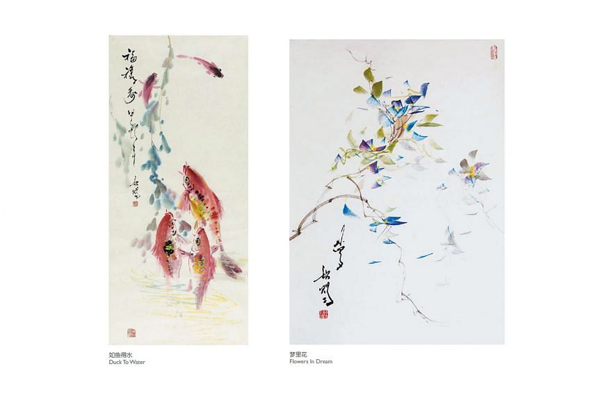 Paintings by Mr Tan Khim Ser include Duck To Water (left) and Flowers in Dream. The noted artist will be conducting a two-day class, where participants can learn to paint fish, flowers and plants in Chinese colour ink, and understand more about Chine