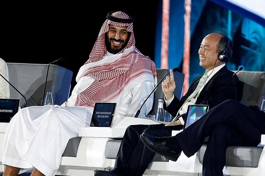 Saudi Crown Prince Mohammed Salman and Masayoshi Son, SoftBank Group Corp. chairman and CEO, attend the Future Investment Initiative conference in Riyadh, Saudi Arabia, last October.
