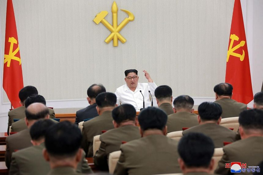 North Korean leader Kim Jong Un chairing a top-level military meeting in Pyongyang on Friday. The North has threatened to walk away from the June 12 summit if the US continues to demand it unilaterally abandon its nuclear arsenal.