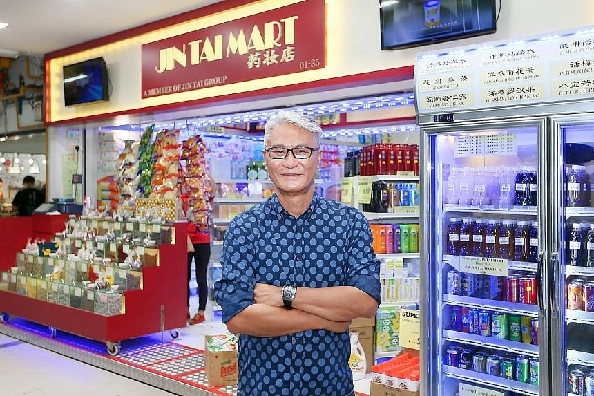 Mr Francis Liew, chief executive of Jin Tai Group, at the supermarket chain's outlet in Tanjong Pagar Plaza. Mr Raymond Tan, who started the MCP Fairmart chain, at his store in Jurong East. He has three outlets in the heartland, but has no plans to e
