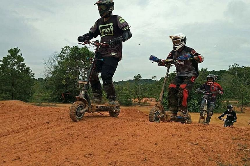 Members of the DSX Cross Club racing their e-scooters at the Ulu Choh Dirt Park in Gelang Patah, Johor. Mr Jan-Hendrik Jurgens (above) hopes to take non-compliant PMDs to Bali.