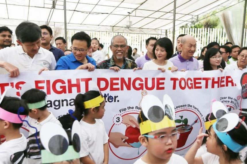 Mr Masagos (centre) said that the National Environment Agency detected 22 per cent more Aedes aegypti in the first three months of this year compared to the previous three months.