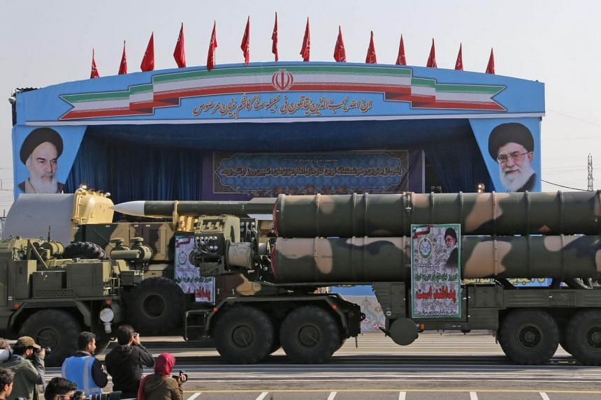 An Iranian military truck carries parts of a S-300 air defence missile system during a parade on the occasion of the country's annual army day on April 18, 2018.